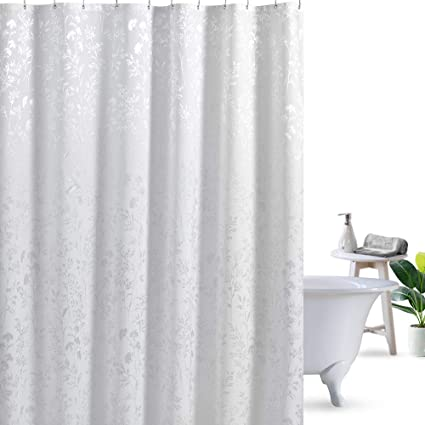 72Wx72L Leaves Ufriday Water Repellent Shower Curtain Polyester Mildew Resistant White