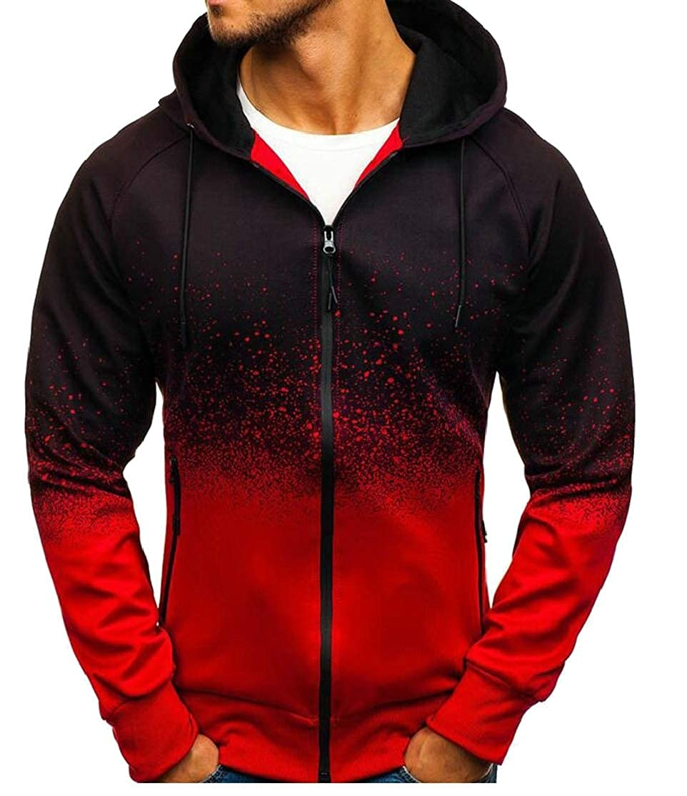 Cromoncent Mens Zip-Up Spell Color Casual Hooded Printed Sweatshirts Jacket