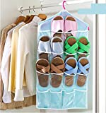 Pindia Sky Blue 16 Pockets Clear Over Door Hanging Storage Bag Shoe Rack Hanger Storage Tidy Organize