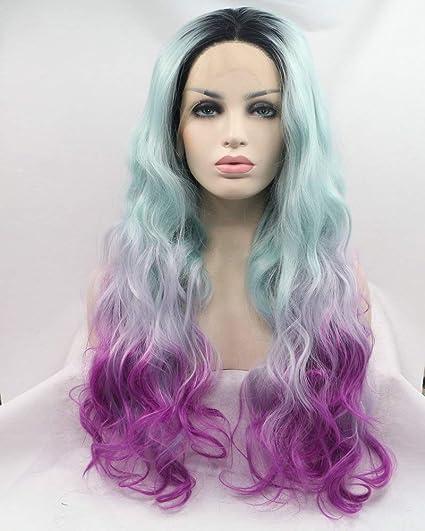 Raíces oscuras Ombre azul pastel oscuro púrpura Encaje frente ...