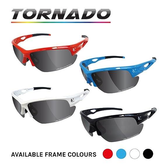 VeloChampion Lunettes de soleil Tornado - cyclisme Avec 3 paires de verres interchangeables - Noire Black Sunglasses 9YrWhtc64w