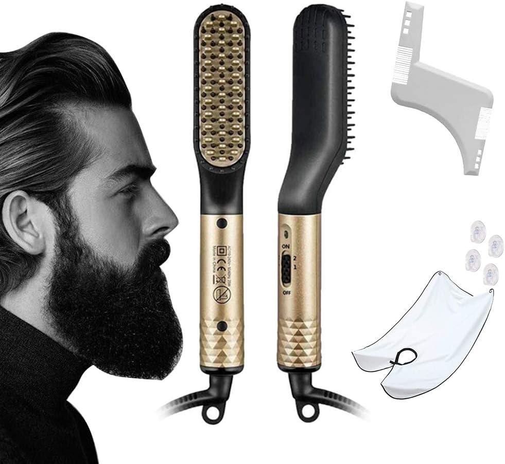 ANNLAN Nuevo Cepillo Alisador de Barba y Cabello Multifuncional para Hombres Y mujeres + moldeador de barba y delantal de barba .Alisador Pelo Peine Eléctrico Plancha Pelo Profesional Multifuncional .