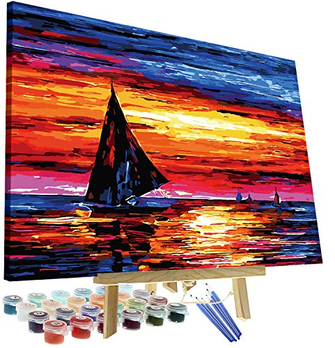 DIY Oil Painting Paint by Numbers Kit for Adults Kids Beginner - Sailboat Sunset 12
