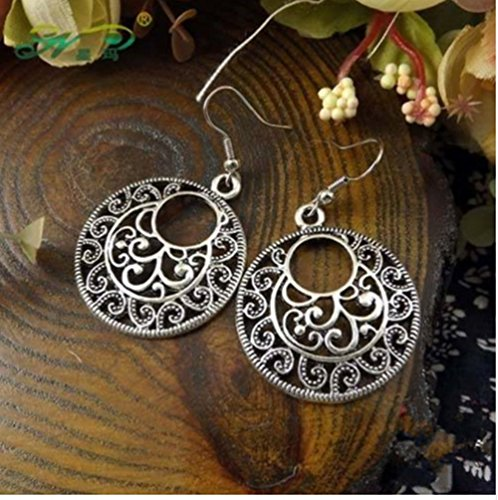 - Best seller New Boho Vintage Silver Round Earrings For Women Hollow Flower Pending Earrings Pendant Enthic Jewelry Long Ear Hook Accessory