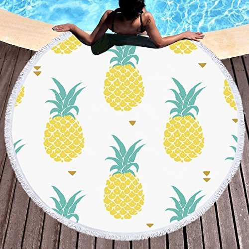Sleepwish Pineapple Round Beach Towel Tropical Throw Blanket Hawaiian Beach Towels Teens Girls Circle Yoga Mat, Yellow Turquoise White (60