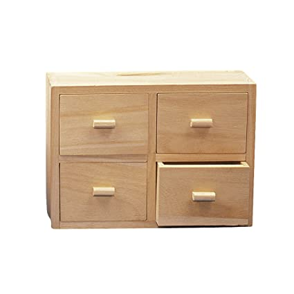 0e26012cac8 Rayher Wooden Chest, 15x20x7cm, 4 Drawers, Wood, Brown, 20 x 15 x 8.4 cm:  Amazon.co.uk: Kitchen & Home