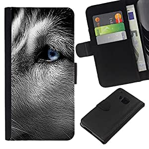 All Phone Most Case / Oferta Especial Cáscara Funda de cuero Monedero Cubierta de proteccion Caso / Wallet Case for HTC One M7 // Siberian Husky Blue Eye Close Face Dog