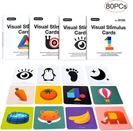 Amazon.com: Beiens - Tarjeta de alta contraste para bebé, 80 ...