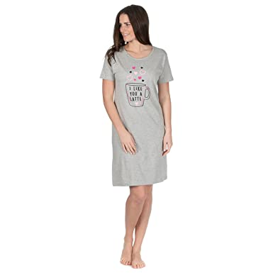 3dbeeaaabb Women s Night Shirt (Sizes 8-22) Short Sleeve Knee Length Cotton Nightdress  Ideal