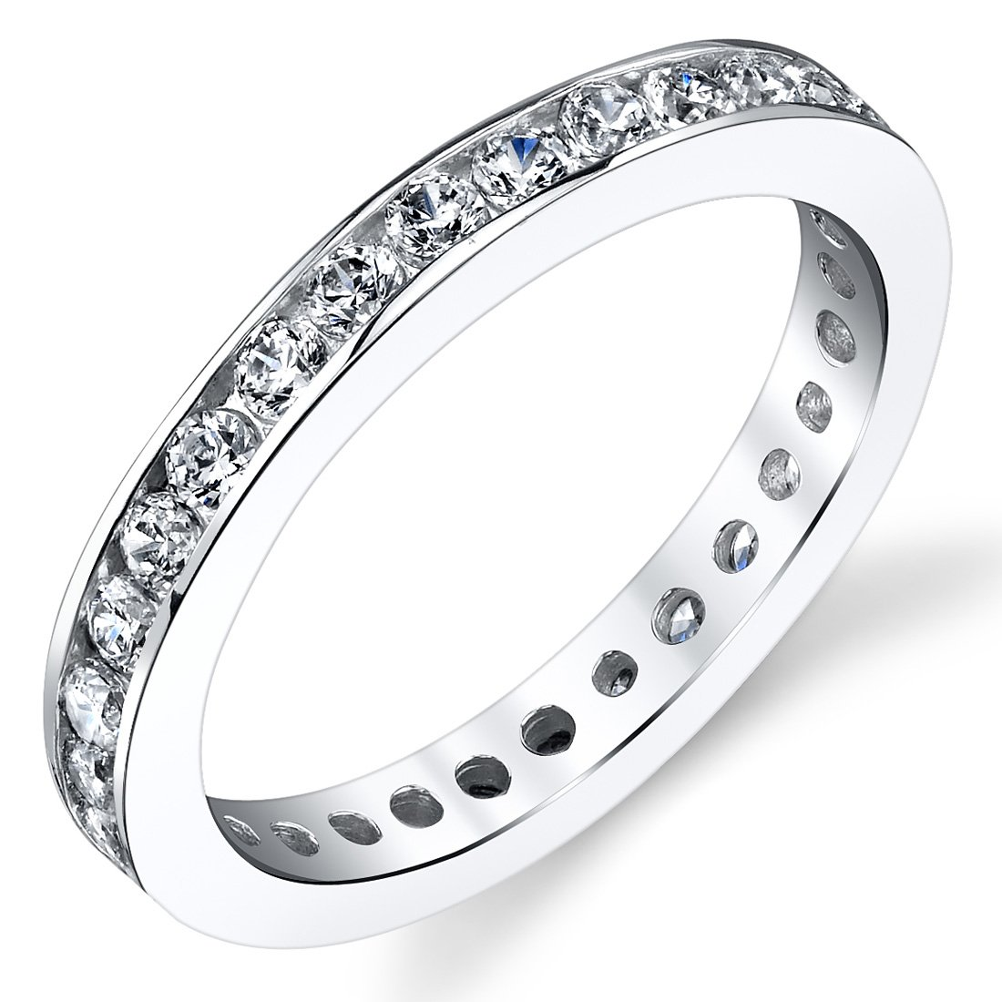 1.50 Carats White Cubic Zirconia Eternity Ring Sterling Silver Size 6