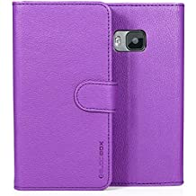 HTC One M9 Case, BUDDIBOX [Wallet Case] Premium PU Leather Wallet Case with [Kickstand] Card Holder and ID Slot for HTC One M9, (Purple)