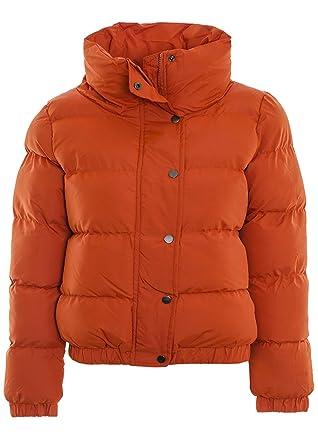 cd0bf93ef79 Fuchia boutique Women's Hooded Puffer Quilted Padded Bomber Jacket Parka  Coat Burnt Orange (10,