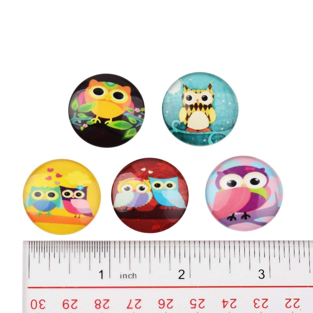 for Jewelry Making Pandahall About 50pcs//Box Black /& White Printed Half Round Flat Back Glass Cabochons 1 Inch 25mm