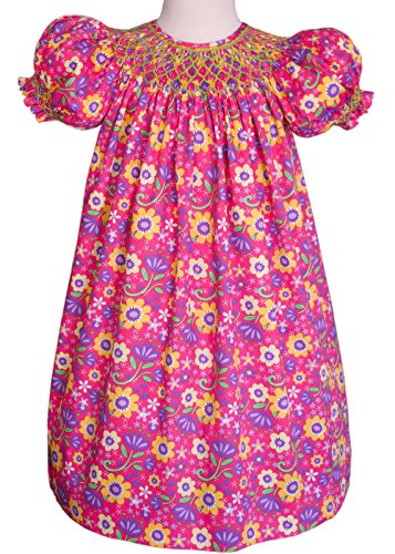 Carouselwear Hand Smocked Baby Girls Bishop Dress In Hot Pink Floral Fabric