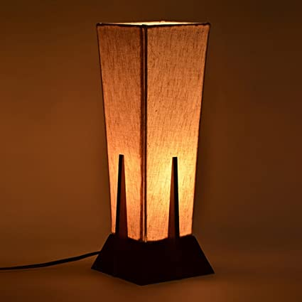 Slickhouz Inch Pyramid Decorative Table Lamp In Sheesham Wood Lamps For Living Room Gift Item