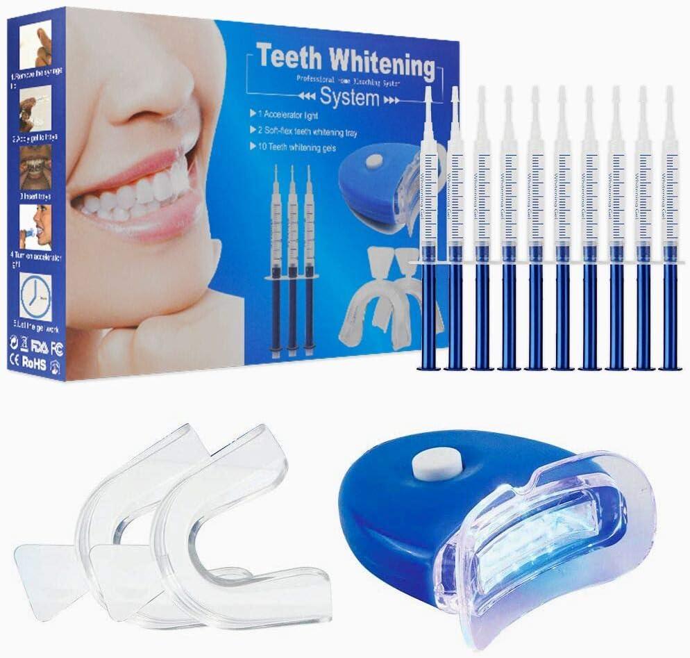 Kit de blanqueamiento dental, Home Teeth Whitening Kit Cuidado dental con kit de blanqueo profesional Dispositivo de blanqueamiento LED para dientes blancos, que incluye 10 pcs Gel de cuidado dental
