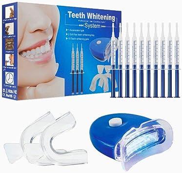 Kit de blanqueamiento dental, Home Teeth Whitening Kit Cuidado dental con kit de blanqueo profesional Dispositivo de blanqueamiento LED para dientes blancos, que incluye 10 pcs Gel de cuidado dental: Amazon.es: Salud