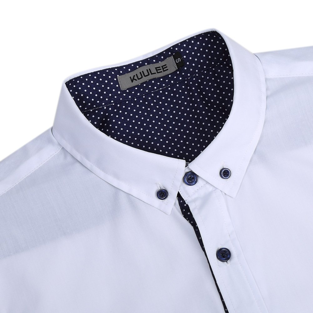 Kuulee Men's Casual Slim Fit Short Sleeve Button Down Business Shirt Cotton Dress Shirts White XXL by Kuulee (Image #4)