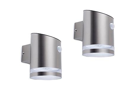 Gut gemocht 2er Set LED Solar Außenleuchte mit Bewegungsmelder, Edelstahl UB93