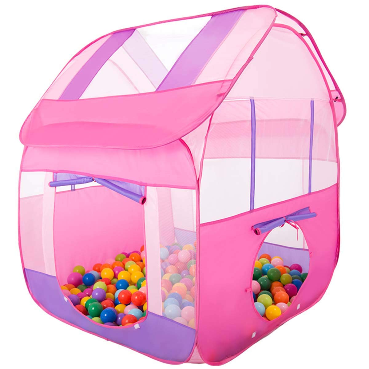 Aubeco Princess Pink Pop-up Play Tent Children Big Portable Play House Tent, 47.2''X 47.2''X 51.2''