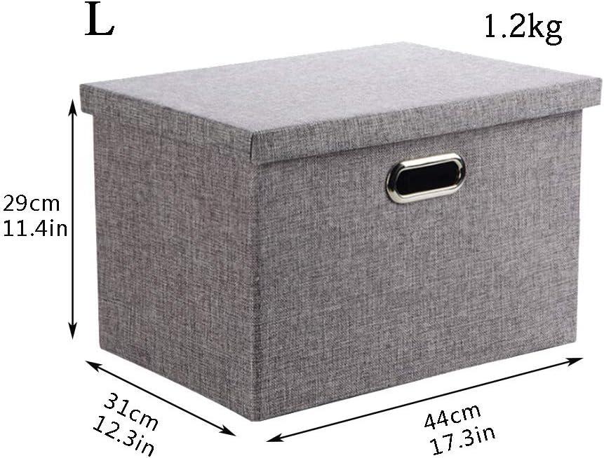 3 Gr/ö/ßen mit Deckel grau Wintao Faltbare Leinentuch Kleidung Ablagekorb S Aufbewahrungsbox