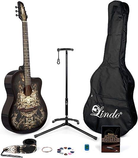 Lindo 933C Alien Guitarra acústica negra y paquete completo de ...