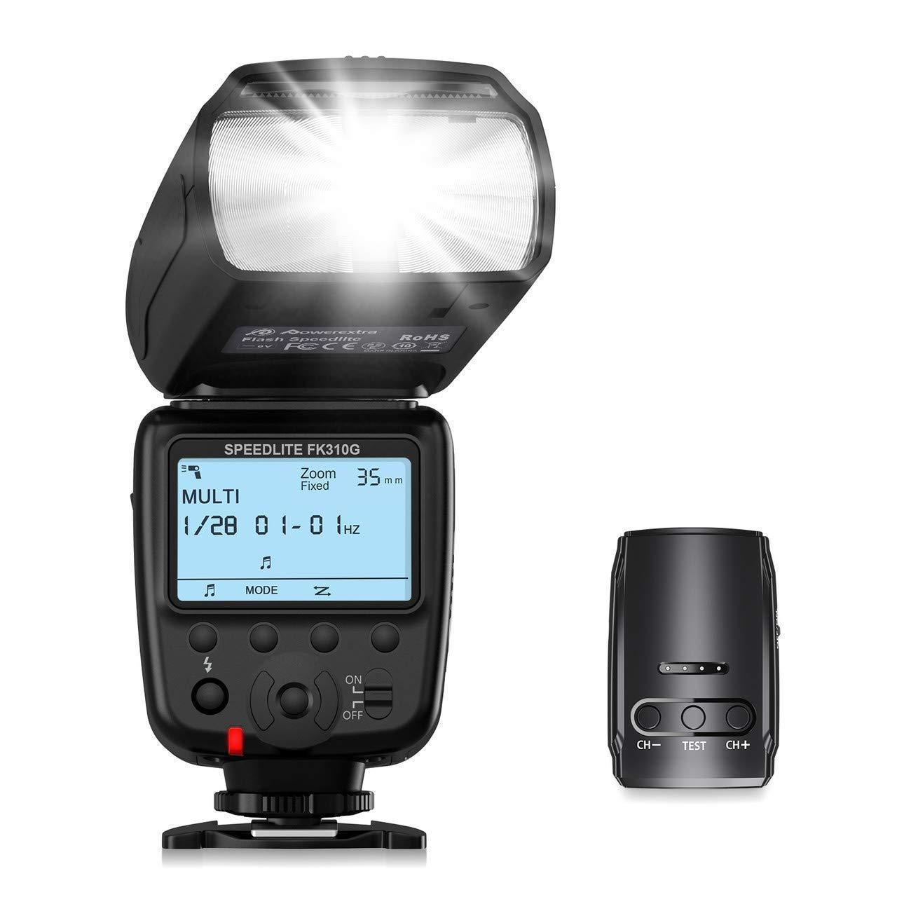Powerextra LCD Display Flash Speedlite, 2.4G Wireless Flash Trigger Transmitter Kit for Canon Nikon Pentax Panasonic Olympus and Sony DSLR Camera, Digital Cameras with Standard Hot Shoe