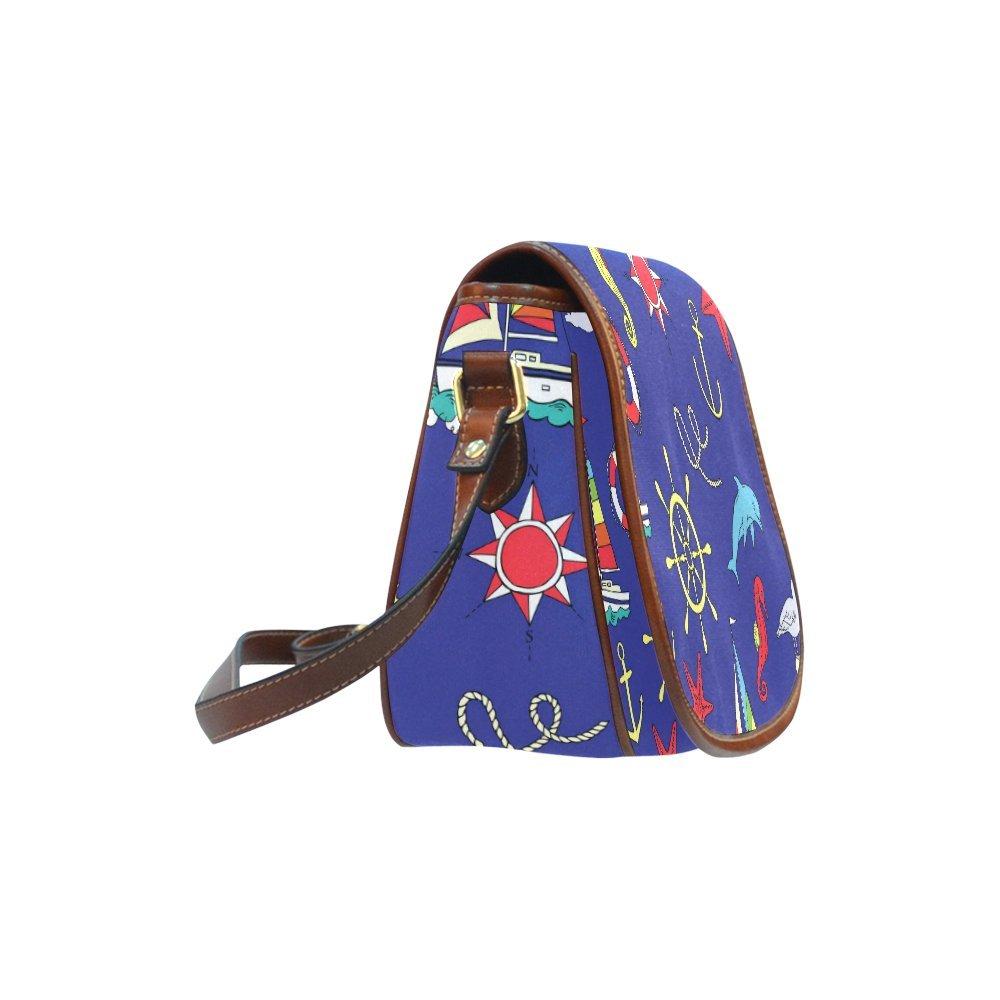 Custom Print Saddle Crossbody Nautical With Ships Messenger Shoulder Bag Purse