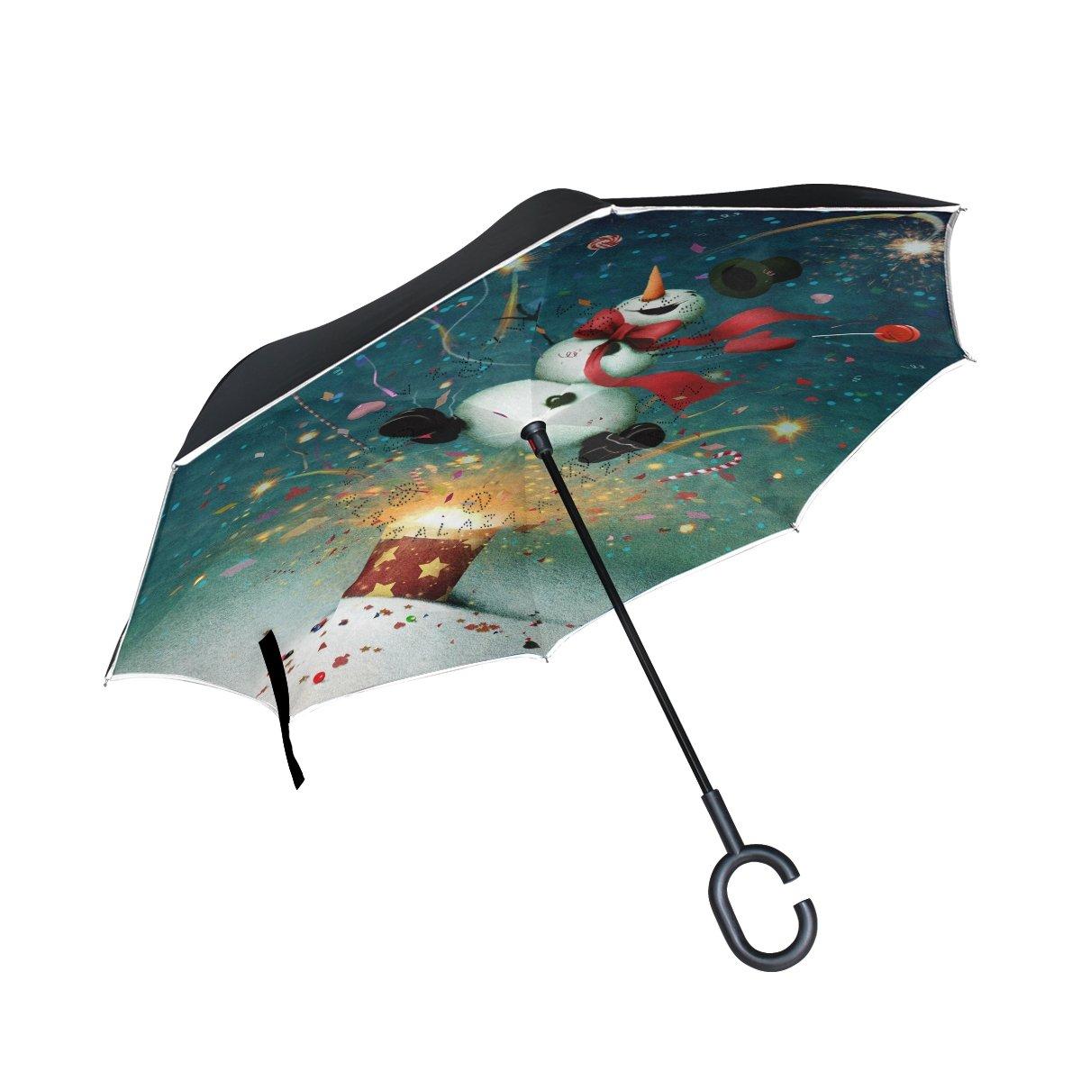 d525ad1d60 new ALAZA Firework Funny Snowman Christmas Night Inverted Umbrella ...