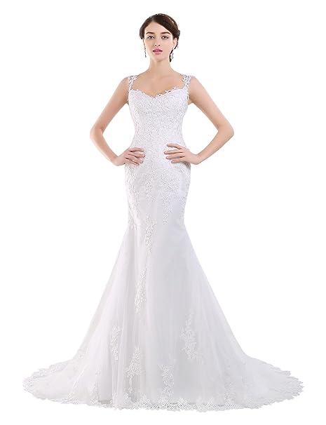 Adasbridal-Vestido de novia de elegante tul de escote Queen Anne con cintura natural de