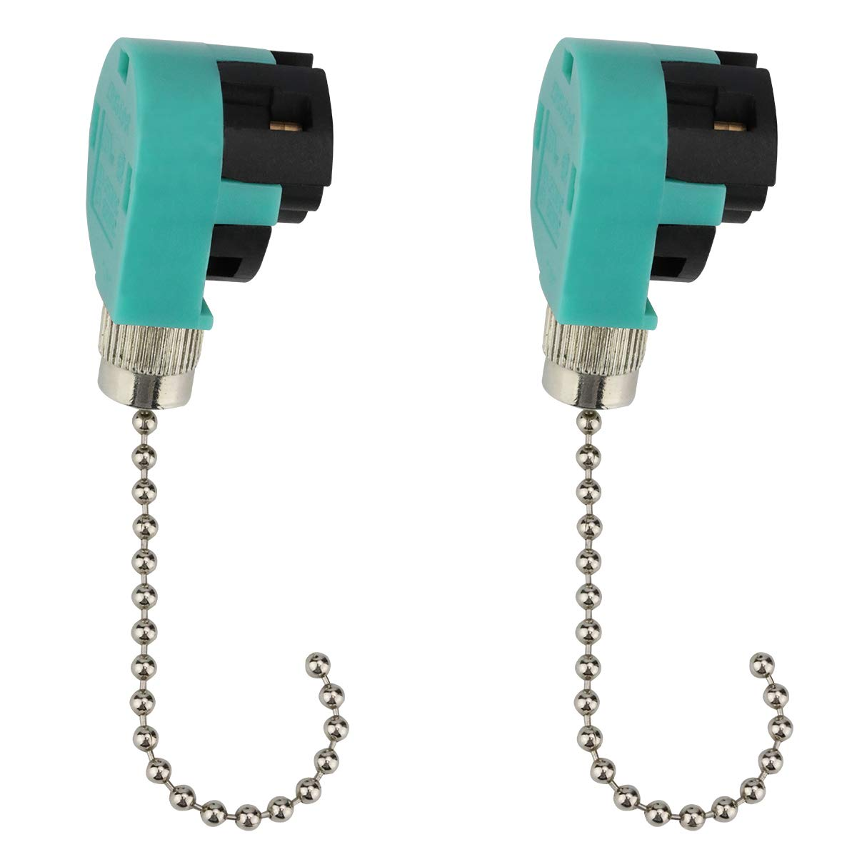 Ceiling Fan Switch ZE-268S6 3 Speed 4 Wire Pull Chain Switch Ceiling Fans, Wall Lamps, Cabinet Light(2 pcs, Nickl)