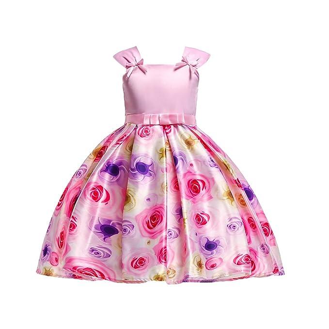 Tookang Bebé Chicas Vestidos De Fiesta Formal Flores Impresas Sin Mangas Boda Dama De Honor Vestido