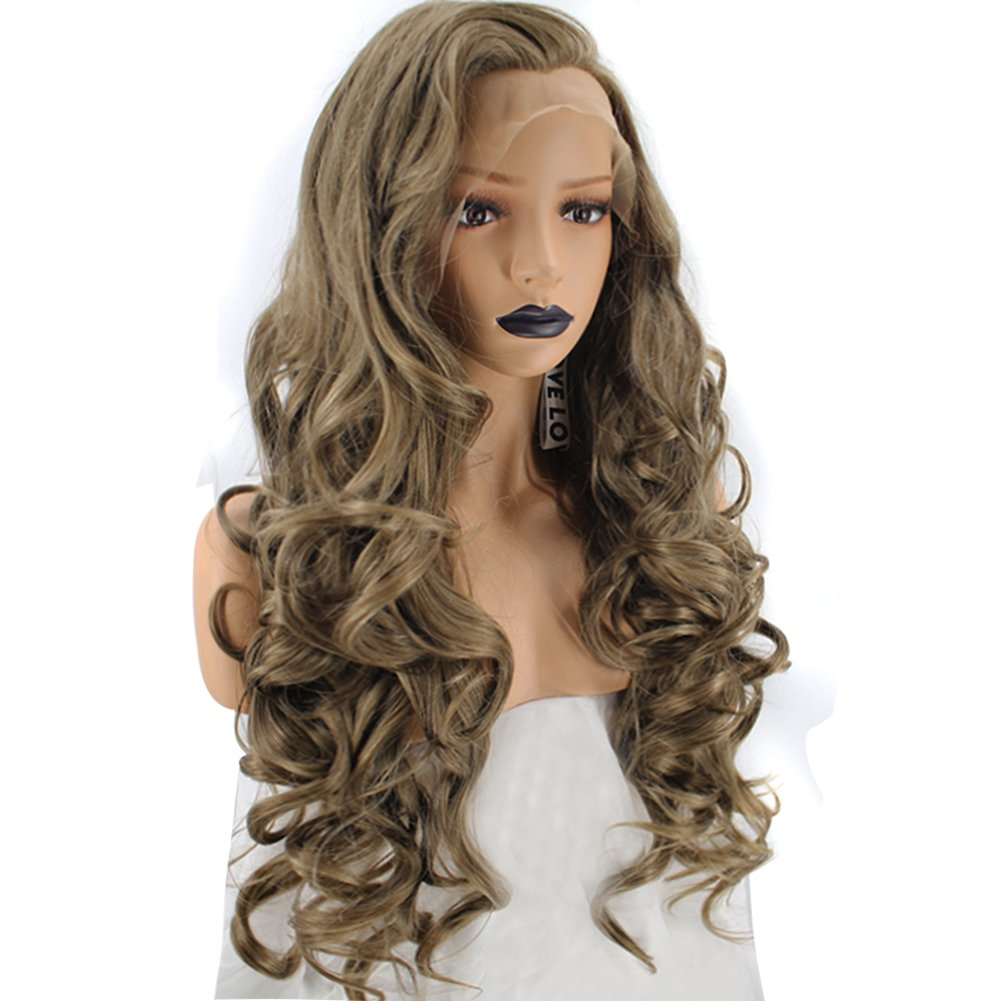 Amazon.com   Anogol Hair Cap+Women s Blonde Glueless Synthetic Hair Lace  Front Wig Long Curly Replacement Wigs Natural Hairline   Beauty 1f85125333
