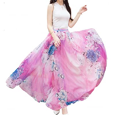Afibi Women Full/Ankle Length Blending Maxi Chiffon Long Skirt Beach Skirt at Women's Clothing store