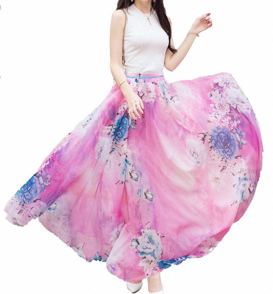 e6ced98866 Afibi Women Full/Ankle Length Blending Maxi Chiffon Long Skirt Beach Skirt  (XXX-