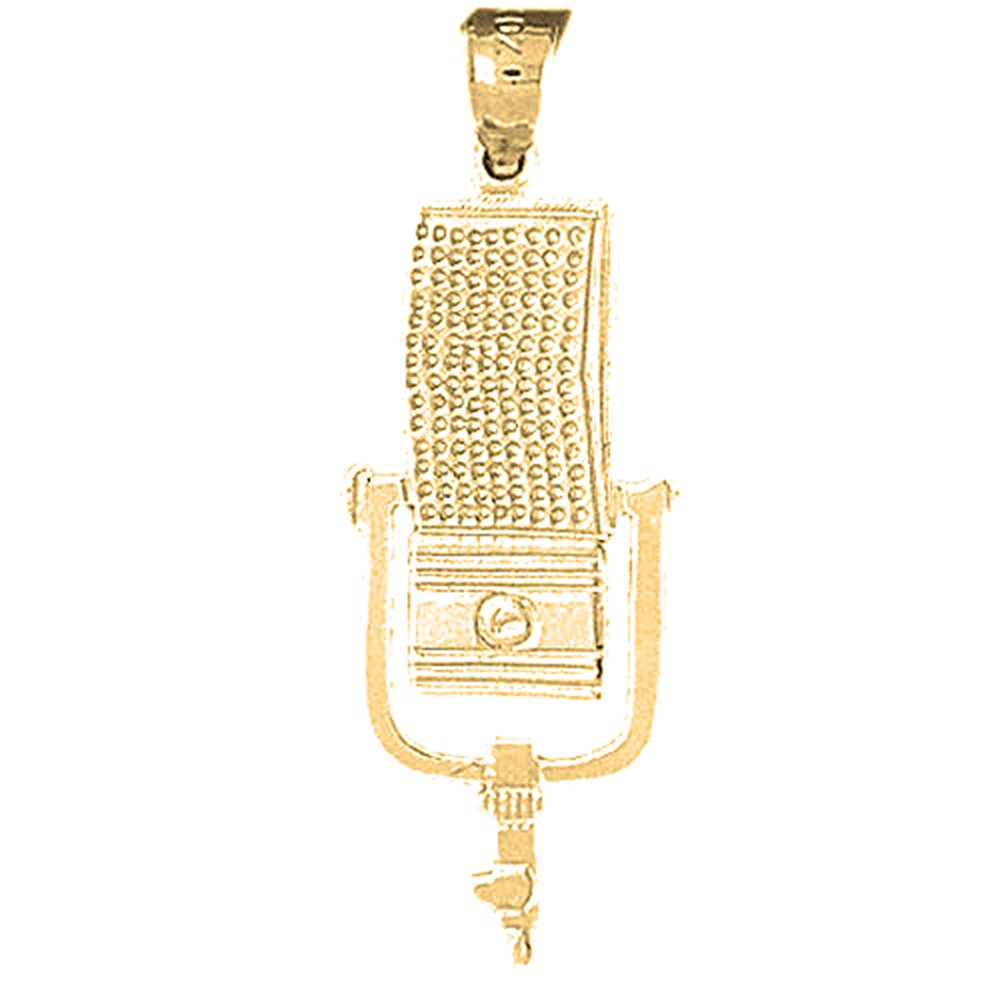 Jewels Obsession Microphone Necklace 14K Yellow Gold-plated 925 Silver Microphone Pendant with 16 Necklace
