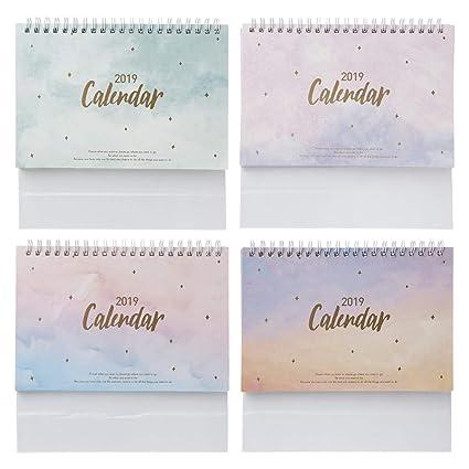 Bhty235, 2019 Calendario de plan en espiral, colorido, cielo 2019, para escritorio, con espiral, calendario de notas, calendario diario, planificador ...