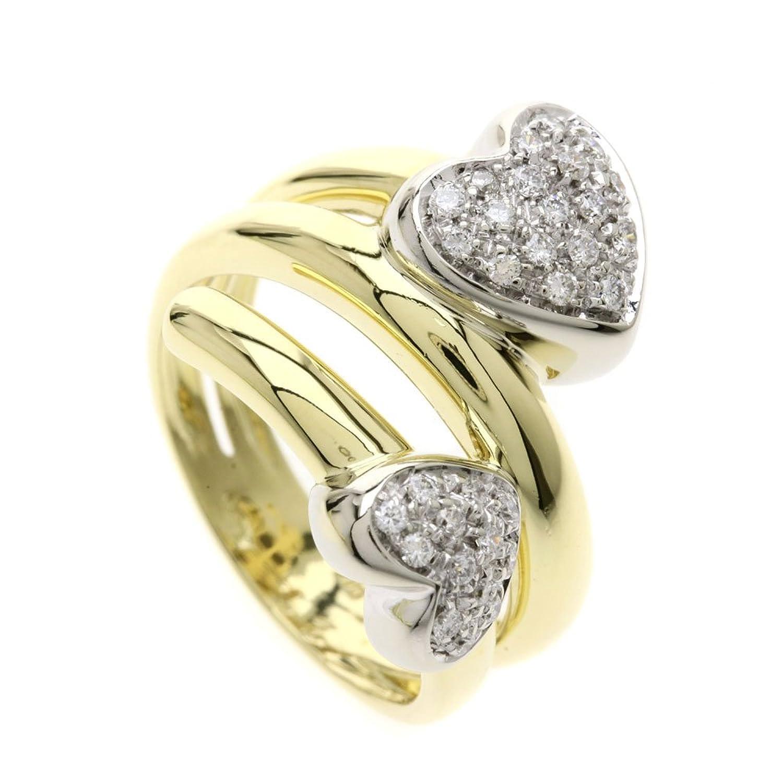 [ポンテヴェキオ]ハート ダイヤモンド リング指輪 K18イエローゴールド/K18WG レディース (中古) B07D6YBKZ4
