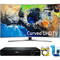 Samsung (UN49MU7500FXZA) 48.5 Curved 4K Ultra HD Smart LED TV (2017 Model) with HDMI 1080p HD DVD Player + 6ft HDMI Cable + Universal Screen Cleaner for LED TVs