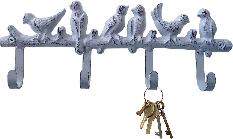 Key Holder Wall Key Hooks Iron Key Rack Wall Hook Rack for Coats, Hats, Towels, Clothes (Modern White)