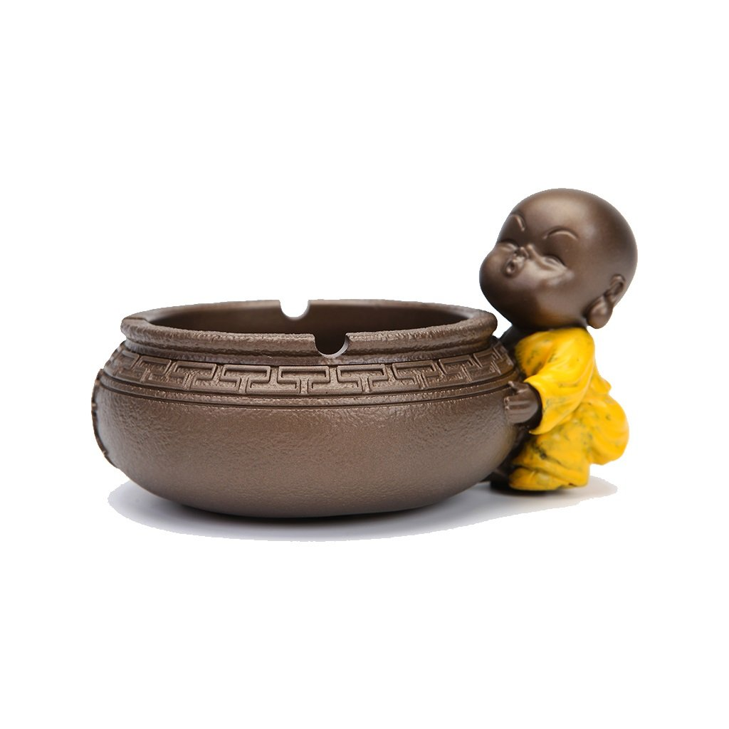 TLMY Creative Fashion Ashtray Multi-Function Cartoon Small Small Monk Home Decoration Ornaments Personalized Potted Small Flower Pot Ashtray (Color : E)