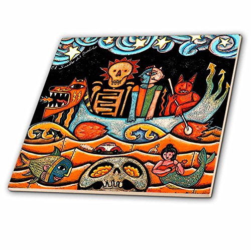 Art Accent Tile Mural Ceramic - 3dRose LLC ct_21127_2 The Devil Dream Folk Art Skulls Mexican Colorful Surrealism Ceramic Tile, 6-Inch