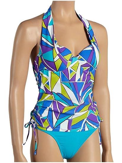 0eaf28ba98b5c Leilani Women's Sea Glass Splash Halter Tankini Two Piece 6 Blue Azure at  Amazon Women's Clothing store: