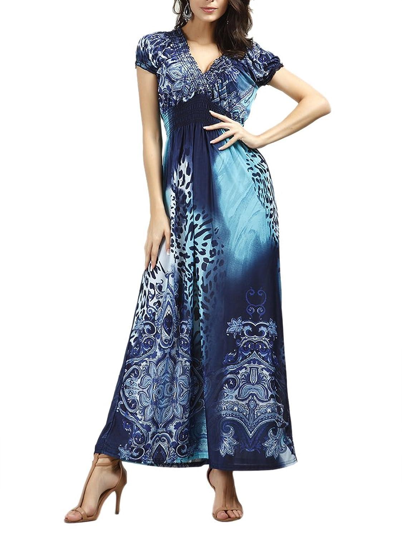 Damen Maxikleid Strandkleider Leopard V-Ausschnitt Sommer Abendkleid ...