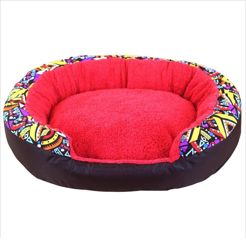 RED Medium RED Medium Cat Nest Pet Bed Cat Kennel Pet Sofa Pet Nest Dog Nest Kennel Insulation Indoor Pet Mat Haiming (color   RED, Size   M)