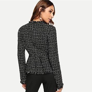 YHXMG Chaqueta De Mujer Elegante Tweed Chaqueta básica a ...