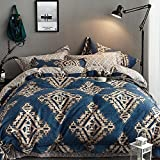 Exotic Boho New Fashion 60S 100% Cotton Bedding Set,Luxury 1 Duvet Cover 1 Flat Sheet 2 Pillowcases,American Bedding Decor,NO Comforter (King, Color 6)