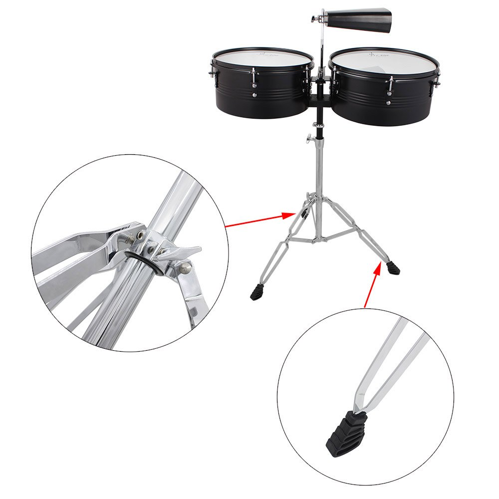 ammoon Latin Percussion Timbales Drum Set with Stand and Cowbell ammoonI1933
