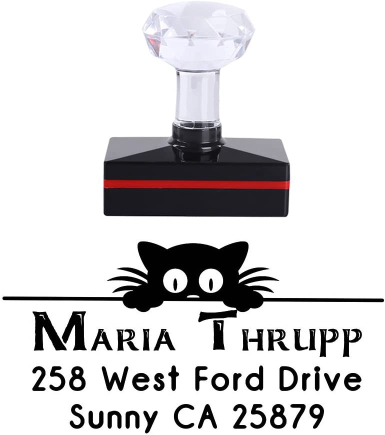 5025mm Personalized Cute Little Cat Black Merry Christmas Creative Ideas Gift Business Self Inking Office Stamper Custom Company Brand Return Address Rubber Stamp Seal