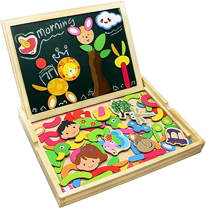 Puzzle Magnetico Legno Lavagna Magnetica Doppio Lato Puzzle di Legno Giochi Educativi per Bambini 3 4 5 Anni